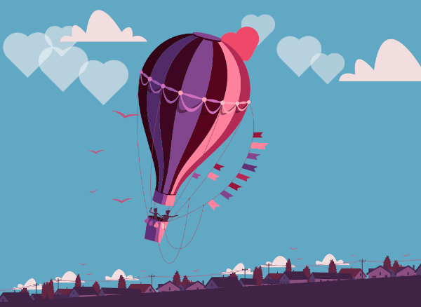 Couple flying in love balloon
